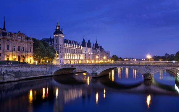 Фото обои свет, мост, город, огни, отражение, река, замок