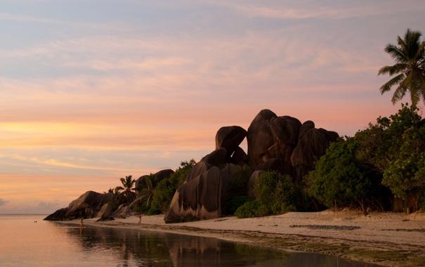 Фото обои пляж, природа, океан, отдых, вечер, relax, Сейшелы