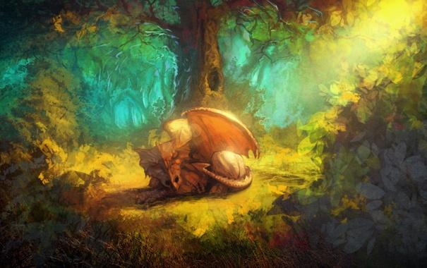 Фото обои лес, деревья, дракон, крылья, хвост, кусты, уставший