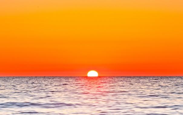 Фото обои море, небо, солнце, закат, зарево