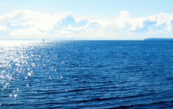 Фото обои солнце, океан, парус