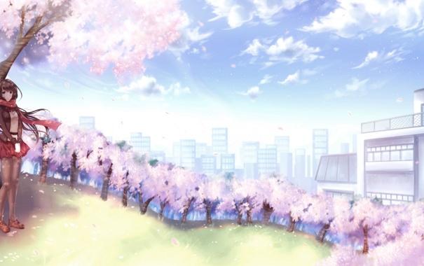 Фото обои небо, девушка, облака, деревья, город, улыбка, дома