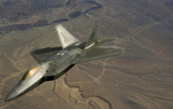 Фото обои полет, ландшафт, истребитель, малозаметный, многоцелевой, F-22 Raptor
