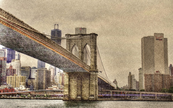 Фото обои город, NYC, Brooklyn Bridge