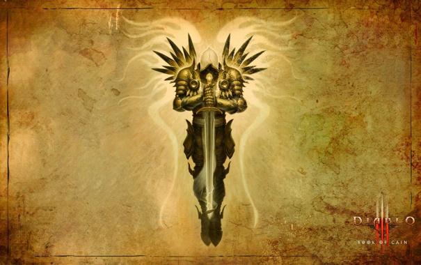 Фото обои фон, крылья, меч, арт, Diablo, Tirael