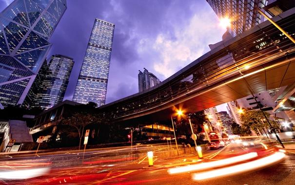 Фото обои дорога, дома, огни