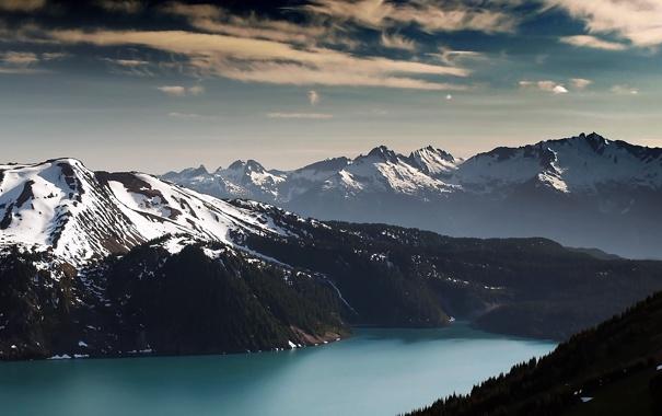 Фото обои лес, небо, горы, река