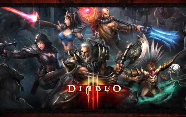 Фото обои варвар, колдун, монах, Diablo 3, чародейка, охотник на демонов, демоны