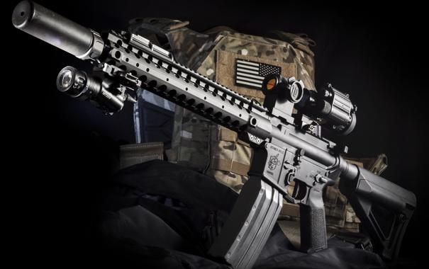 Фото обои оружие, фон, сумка, винтовка, штурмовая, полуавтоматическая