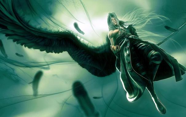 Фото обои полет, крылья, маг, Sephiroth tribute