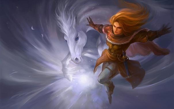 Фото обои девушка, конь, магия, арт, вихрь, кинжал, sandara