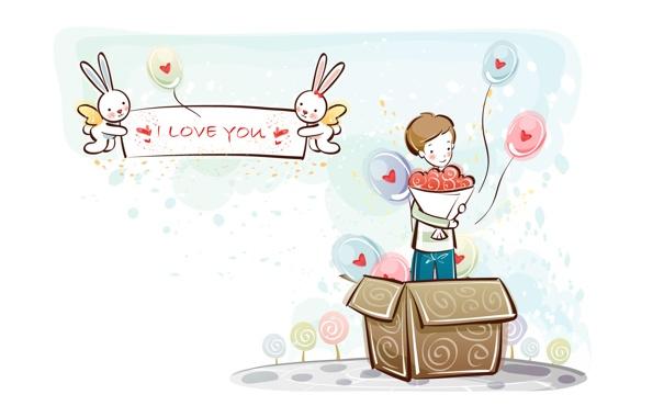 Фото обои шарики, коробка, сердце, рисунок, букет, мальчик, зайцы