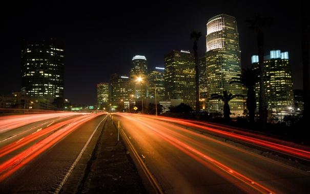 Фото обои дорога, свет, ночь, огни, фото, города, дороги