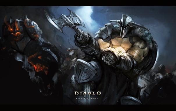 Фото обои топор, Diablo 3, barbarian, Reaper of Souls