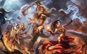 Обои арт, Diablo 3, монстры, магия, бой