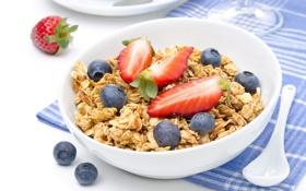 Обои завтрак, Breakfast, muesli with fresh berries, мюсли со свежими ягодами