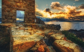Обои wall, bricks, clouds, scenery, stones, ruins, door