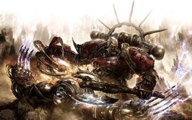 Обои огонь, молнии, Warhammer, хаос, воины, схватка, warp