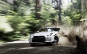 Обои Dust, gt-r, Nissan, White, Turn, Car, Drift