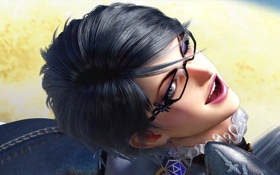 Картинка brunette, glasses, chain, bayonetta 2