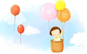 Картинка облака, улыбка, воздушный шар, фантазия, корзина, девочка, полёт