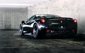 Картинка чёрный, парковка, ferrari, феррари, black, вид сзади, италия