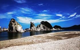 Обои пляж, скалы, берег, человек
