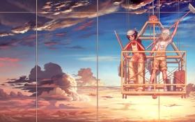 Обои вода, облака, город, отражение, девушки, окна, швабра