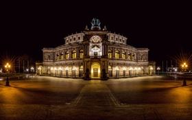 Обои ночь, город, Германия, Дрезден, освещение, фонари, Dresden