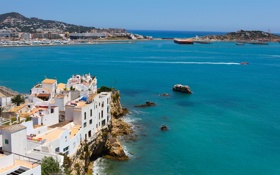 Обои море, скалы, остров, дома, Испания, island, Spain