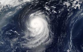 Обои облака, океан, стихия, Земля, ураган, МКС, Irene