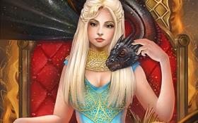 Обои девушка, дракон, трон, игра престолов, Daenerys Targaryen