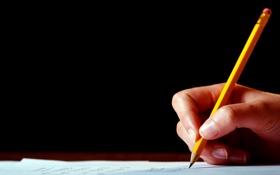 Обои работа, рука, карандаш