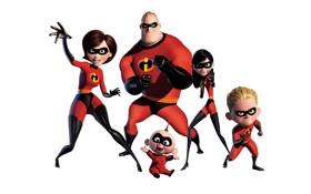 Обои мультфильм, семья, белый фон, маски, костюмы, супергерои, The Incredibles