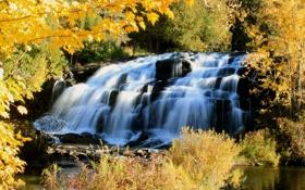 Обои осень, деревья, водопад, каскад, Michigan, Bond Falls