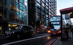 Обои улица, Лондон, такси, автобус, остановка, London