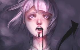 Обои взгляд, девушка, кровь, стрелка, арт, Аниме, Anime