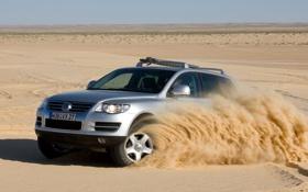 Картинка песок, небо, пустыня, volkswagen, горизонт, джип, внедорожник
