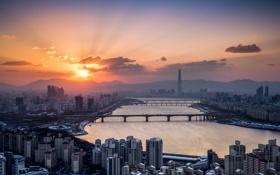 Картинка Seoul, Han River, Lotte Tower, Winter Sunrise