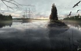 Картинка лес, озеро, корабль
