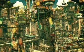 Картинка город, дороги, реклама, вывески, мегаполис