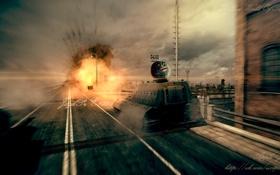 Обои выстрел, Германия, танк, танки, WoT, сау, World of Tanks