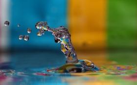 Обои капли, Colorfull Drop, вода, цвета