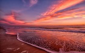 Обои рассвет, побережье, пляж, океан