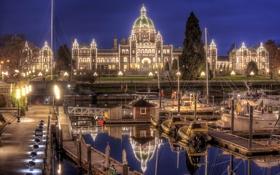 Обои Канада, Victoria, Canada, яхты, ночной город, Виктория, пристань