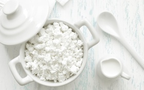 Картинка молоко, ложка, творог, молочный продукт