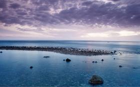 Обои море, небо, облака, камни, океан