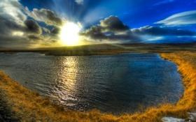 Обои закат, облака, река, hdr, небо