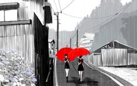 Обои девушки, улица, аниме, зонтики
