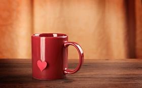 Обои сердце, кружка, чашка, красная, сердечко, нитка